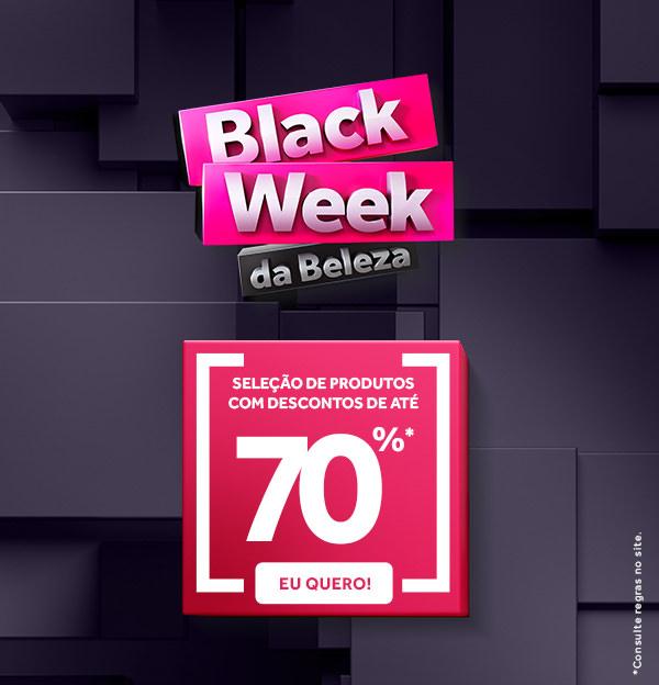 Black week da beleza com seleção de produtos com descontos de até 70%