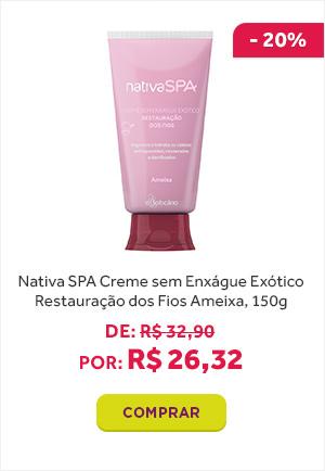 Nativa SPA Creme sem Enxágue Exótico REstauração dos Feios Ameixa de 150g está com 20 porcento de desconto. Por 26 reais e 32 centavos.