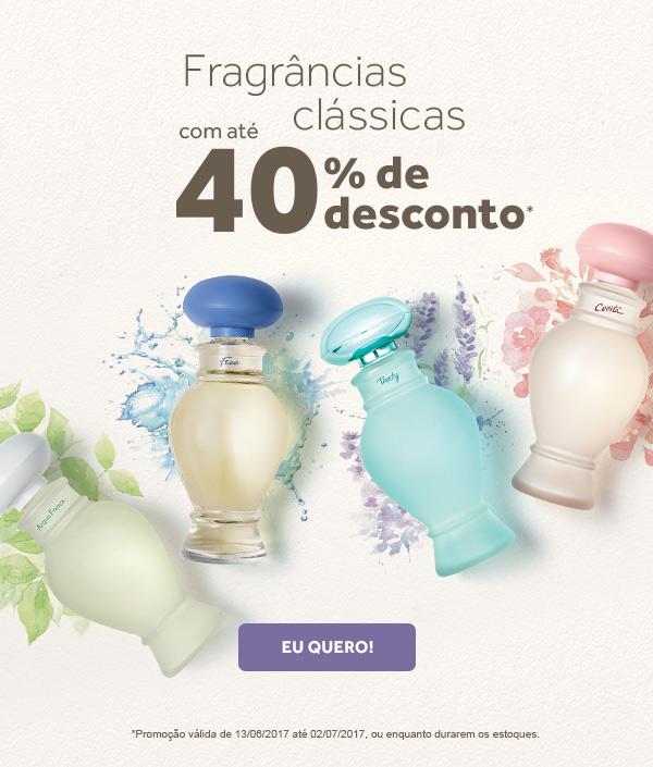 Embalagens de perfumes da linha Taty ilustram a promoção. Fragrâncias clássicas com até 40 por cento de desconto. Clique aqui pra conferir. Promoção válida de 13 de junho a 2 de julho de 2017, ou enquanto durarem os estoques.